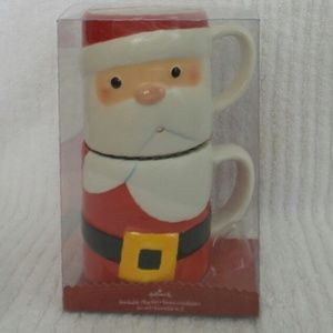 Hallmark SANTA CLAUS Stackable Mug Christmas Set 2